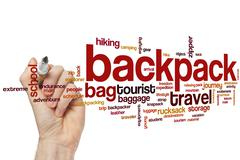 Backpack word cloud Stock Photos