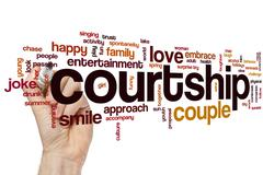 Courtship word cloud - stock photo