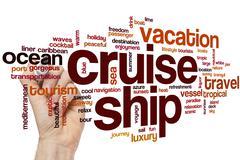 Cruise ship word cloud Stock Photos