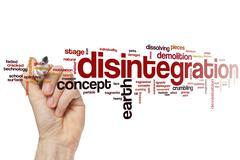 Disintegration word cloud Stock Photos