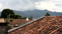 Antigua Guatemala 06 - Mountain View from Rooftop Stock Footage