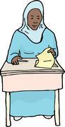 Calm Student at Desk - stock illustration