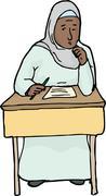Worried Muslim Student - stock illustration