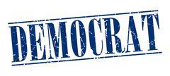 Democrat blue grunge vintage stamp isolated on white background Stock Illustration