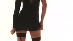 Sexy woman wearing short skirt and stockings  Stock Footage