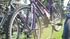 Bikes on rack - stock footage