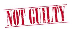 not guilty red grunge vintage stamp isolated on white background - stock illustration