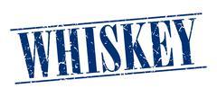 whiskey blue grunge vintage stamp isolated on white background - stock illustration