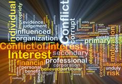 Conflict of interest background concept glowing Stock Illustration
