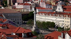 Rossio, Lisbon, Portugal (time lapse) Stock Footage