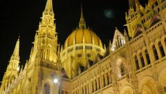 National Hungarian parliament located on river Danube  and city of Budapest Stock Footage