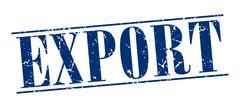 Export blue grunge vintage stamp isolated on white background Stock Illustration