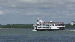 Statue of Liberty cruise boat Stock Footage