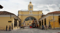 Antigua Guatemala 22 - Arch of Santa Catalina Stock Footage