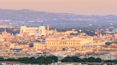 Rome skyline at the sunset altare della patria Stock Footage