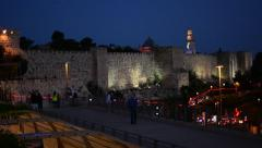 Rings of a lightshow on the Walls of Jerusalem at blue hour, timelapse - stock footage