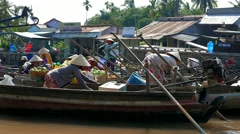 Mekong Delta - Floating market with vendors on boats. 4K resolution Stock Footage