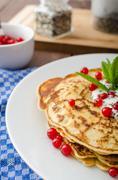 Homemade pancakes with fruit Stock Photos