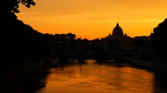 Saint peter cathedral castel sant'angelo bridge at the sunset silhouette Stock Footage