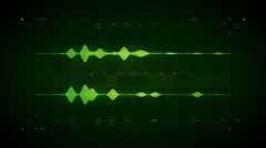 Stock Video Footage of Audio Waveform Stereo Green