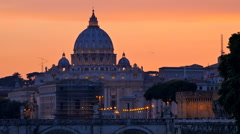 Saint peter cathedral rome at the sunset vatican city Stock Footage