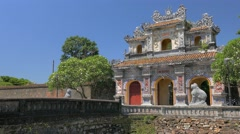 Exit Gate from Imperial City in Hue, Vietnam Stock Footage