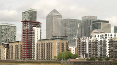One Canada Building and others in Canary Wharf district - stock footage