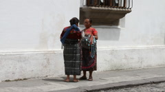 Antigua Guatemala 25 - Female Street Vendors Stock Footage