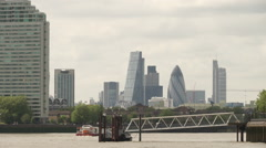 City of London skyline from Canary Wharf - stock footage