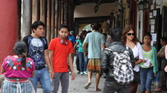 Antigua Guatemala 26 - Sidewalk at Parque Central / The Plaza Stock Footage
