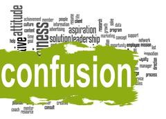 Confusion word cloud with green banner - stock illustration