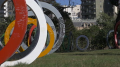 Colored rings Bicentennial Plaza, Cordoba Stock Footage