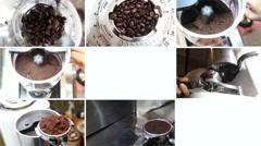 Montage of Barista making a espresso perfect shot by espresso coffee machine, 4K Stock Footage