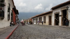 Antigua Guatemala 24 - Street Scene near Arch of Santa Catalina Stock Footage
