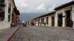 Stock Video Footage of Antigua Guatemala 24 - Street Scene near Arch of Santa Catalina