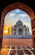Sunrise at Taj Mahal Stock Photos