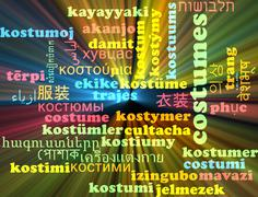 Costumes multilanguage wordcloud background concept glowing - stock illustration