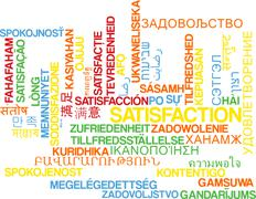 Satisfaction multilanguage wordcloud background concept - stock illustration