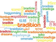 Stock Illustration of Tradition multilanguage wordcloud background concept