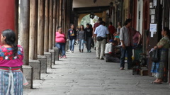 Antigua Guatemala 27 - Sidewalk at Parque Central / The Plaza Stock Footage