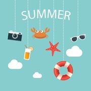 Summertime background with hanging summer icon Stock Illustration