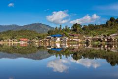 Ban rak thai village in Meahongson, Thailand. - stock photo