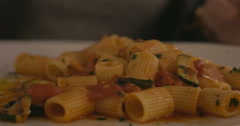 Eating delicious pasta dish Stock Footage