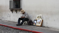 Antigua Guatemala 23 -- Street Artists Series Stock Footage