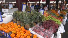 Produce market with fruit and veggies Stock Footage