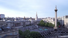 Trafalgar Square London - view from a rooftop nearby - stock footage