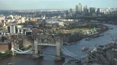 ULTRA HD 4K Timelapse boat pass Tower Bridge lift down suspension London emblem  Stock Footage