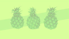 Stock Video Footage of Vivid pineapple on a design background. Loop footage