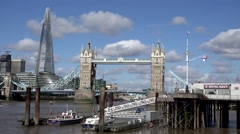 ULTRA HD 4K Timelapse Shard Tower Bridge cloud pass boat Thames River London day Stock Footage