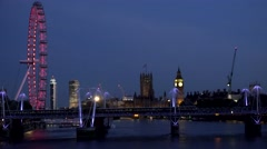 ULTRA HD 4K Timelapse Ferris wheel rotation London Eye Elizabeth Tower bridge  Stock Footage